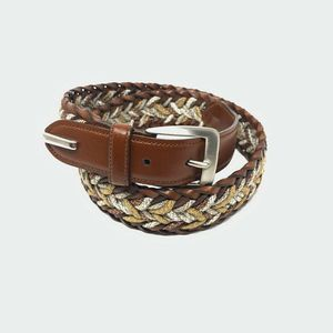 Axis Braided Belt Brown Italian Leather Woven M